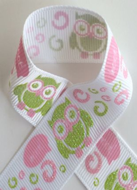Owls Glitter Printed Craft Ribbon