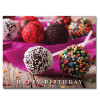 "Cake Pops Birthday Postcard has a photo of decorated cake pops and the words ""Happy Birthday"""