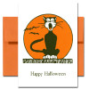 Cover of Halloween Card - Serenade showing a yowling black cat sitting on a fence with an orange moon in the background