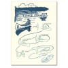 "Saturn Press All Occasion Card ""Canoe Strokes"" Cover shows vintage illustration of classic canoe strokes"