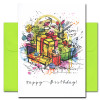 Birthday Card: Birthday Bash has a multi-color abstract drawing of wrapped presents and the words Happy Birthday