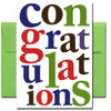 Cover of Business Congratulations Card has the word congratulations  in large letters of different colors