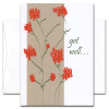 "Get Well Card - Wildflowers is an illustration of a plant with red flowers and the words ""get will...."" in script lettering"
