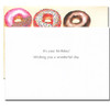 Business Birthday Card Donuts has a white background with black text with the message: It's your birthday! Wishing you a wonderful day