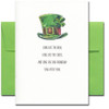 Saint Patrick's Day card cover shows a green top hat with a shamrock in the hatband and the words: Long live the Irish, long live the cheer, and long live our friendship year after year.