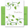"Thank You Card: Growing Appreciation - Leafy cover has a chalk sketch of leafy green branches and the word ""Thank You"""