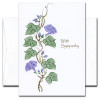 "Sympathy Card - Heirloom Vines Cover is an illustration of a weathered vine with purple flowers and the words ""with sympathy"""