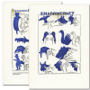 """Saturn Press All Occasion Card """"Shadowcraft"""" Cover and back show an illustrations of different shadow puppets and hands making them."""