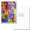 "boxed business birthday card - shopping bag cover is a photo of decorated shopping bag with the words Happy Birthday! inside  card are the words ""Happy Birthday! May the year ahead be filled with happiness"""