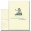"Quotation Card ""Committees: Chesterton"" Cover Shows old fashioned illustration of a statue of a woman sitting holding a scroll of paper with a quote by G.K. Chesterton that reads: ""I've searched all the parks in all the cities and found no statues of committees."""