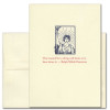 """Quotation Card """"Reward: Emerson"""" Cover shows vintage illustration of a young woman holding a torch with the quote by Ralph Waldo Emerson """"The reward for a thing well done is to have done it."""""""