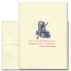 """Quotation Card """"All True: Hemingway"""" Cover shows old fashioned illustration of a quill pen with ink and a quote by Ernest Hemingway reading: """"I know now that there is no one thing that is true - it is all true."""""""