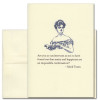 """Quotation Card """"Impossible Combination: Twain"""" Cover shows vintage illustration of a woman holding a book. Quote by Mark Twain reads: """"Are you so unobservant as not to have found out that sanity and happiness are an impossible combination?"""""""