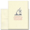 """Quotation Card """"Everything Happens: Shaw"""" Cover shows an old fashioned quill pen in ink next to an hourglass with a quote by George Bernard Shaw that reads: """"Everything happens to everybody sooner or later if there is time enough"""""""