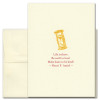 """Quotation Card """"Life is Short: Amiel"""" Cover shows golden old fashioned style hourglass with a quote from Henri F. Amiel reading: """"Life is short. Be swift to love! Make haste to be kind!"""""""