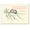"""Juncos Birds New Years Card Cover shows two juncos on a winter branch with the quote, """"And now let us welcome the new year, full of things that have never been. - Rainer Maria Rilke"""""""