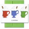 "Cheers Business New Year Holiday Greeting Card cover shows three colorful mugs topped with whipped cream and cinnamon sticks and the word ""Cheers!"""