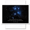 """Business  New Year Card: Sight of Stars cover photo of The Pleaides (Seven Sisters) constellation in the winter sky of the Northern Hemisphere and the Van Gogh quotation """"I know nothing of any certainty, but the sight of stars make me dream"""""""
