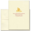 """Quotation Card """"Blind Chicken: Croatian Proverb"""" Cover shows a vintage illustration of a golden chick pecking at the ground with the Croatian proverb: """"Even a blind chicken sometimes finds an ear of corn."""""""