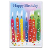 """Inside of business birthday card - star spangled candles with the words """"happy birthday"""" superimposed on photo of 7 candles with stars on them on top of a cake"""