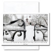 """Cover of New Year Card Peace and Plenty shows photo of slightly opened entrance gate to  snow covered yard and house with the Irish Toast """"May peace and plenty be the first to lift the latch to your door"""""""