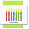 """Boxed Business Birthday Card - Tall Candles Cover  showing a drawing of 7 multi-colored candles on a white background with the words """"Happy Birthday"""" underneath"""