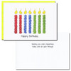 """Inside of Boxed Business Birthday Card - Tall Candles with the words """"wishing you every happiness today and all year through"""""""