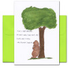 "Quotation Card ""Simple Philosophy: Longworth"" Cover shows a drawing of a bear scratching his back against a tree with a quote from Alice Roosevelt Longworth that reads ""I have a simple philosophy. Fill what's empty. Empty what's full. Scratch where it itches."""