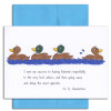 """Quotation Card """"Success: Chesterton"""" Cover shows a drawing of three ducks in a line and one going the opposite direction with a quote from G.K. Chesterton that reads """"I owe my success to having listened respectfully to the very best advice, and then going away and doing the exact opposite."""""""