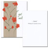 "Get Well Card - Wildflowers is an illustration of a plant with red flowers and the words ""get will...."" in script lettering inside: Get Well Card-Wildflowers inside are the words ""....Soon!  Wishing you a speedy recovery!"" on a white background"