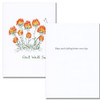 "Get Well Card- Butterfly is an illustration of a multi-flowered plant and a butterfly with the words ""Get Well Soon"" in script Get Well Card- Butterfly inside has the words ""hope your feeling better ever day"" in blank ink against a white space, leaving room  for a business, corporate or medical professional get well message"