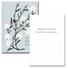 "Get Well Card- White Blossoms cover has an illustration of white blossoms on multiple branches with the words ""Get Well Soon"" in black letters on a blue background Get Well Card - White Blossoms inside has the words ""Thinking of you and hoping every day finds you feeling better"" and space to write a get well message from a medical professional, business associate or personal relationship"