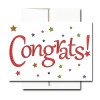 "Business Congratulations Note Card- Starry Congrats has the word ""Congrats!"" on the cover in bright red letters surrounded by multi colored stars"