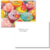"The Birthday Postcard- Fancy Cupcakes reverse side has the words ""wishing you a day full of delights!"".  There is also room for name and address and to write a birthday greeting to the school student, business or corporate relationship receiving the card"