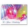 "Party Supplies Birthday Postcard has photo of pastel balloons, streamers, a party hat and the words ""It's Your Birthday!"" in blue script"