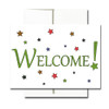"""Starry Welcome Note Card has the word """"Welcome!"""" set in green type surrounded by multi-colored stars"""
