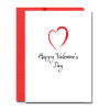 "Image of Modern Heart Valentine Note Card for business appreciation which has an illustration of an outline of a heart in red with the words ""happy valentines day"" in black script underneath."