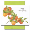 Cover of Thanksgiving Card - Health and Happiness shows branches with golden apples and green leaves and the words Happy Thanksgiving