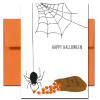 Candy Thief Halloween Card. Hand drawn illustration of spider stealing a piece of candy corn