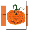 "Cover of Halloween Card Luck. Bright orange pumpkin and the words, ""When black cats prowl and pumpkins gleam, may luck be yours on Halloween."""
