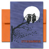 Cover of Halloween Card - Night Owls showing two owls on a tree branch against a white moon.