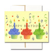 "Boxed Business Birthday Note Card - Cupcake Trio Cover has colorful cupcakes, streamers and the words ""Happy Birthday"""