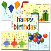"""Boxed Business Birthday Note Card Assortment 50 note cards covers of each of the 5 note cards in the business birthday note card assortment, each with the words """"Happy birthday"""" and a different illustration"""