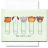 "Baby congratulations card has a line up of diaper pins with baby animal faces and the word ""Congratulations"""