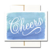 """Business Congratulations Note Card  has the word """"Cheers"""" in bold script on a hand-painted watercolor background"""