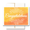 "Business Congratulations Note Card  has the word ""Congratulations"" in hand-drawn lettering along with a sunburst on a hand-painted watercolor background"