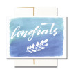 """Business Congratulations Note Card  has the word """"Congrats"""" in hand-drawn lettering along with a leaf design on a hand-painted watercolor background"""