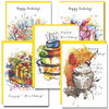 Birthday Celebration Assortment: Two each of five different brightly colored abstract designs