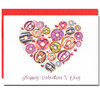Valentine Card with colorful frosted donuts arranged into a heart shape
