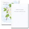 Inside of Apple Blossom Sympathy Card reads: Sharing your sorrow at the loss of someone so dear